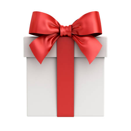 Gift box or present box with red ribbon bow isolated on white background. 3D rendering. Stock Photo