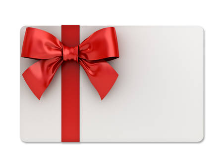 Blank gift card with red ribbons and bow isolated on white background with shadow . 3D rendering.