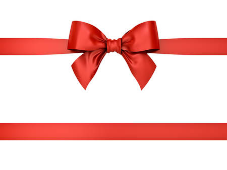 Red gift ribbon bow isolated on white background . 3D rendering. Banque d'images