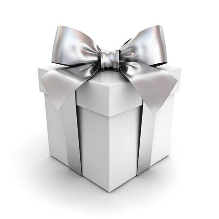 Gift box or present box with silver ribbon bow isolated on white background with shadow . 3D rendering. Stock Photo
