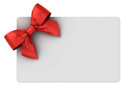 Blank gift card with red ribbon bow isolated on white background . 3D rendering. Banque d'images