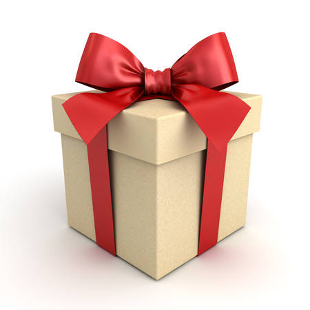 Gift box , Present box with red ribbon bow isolated on white background with shadow . 3D rendering. Banque d'images