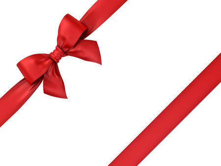 Red ribbon gift bow isolated on white background . 3D rendering.