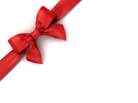 Red gift ribbon bow isolated on white background with shadow . 3D rendering.