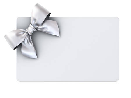 Blank gift card with silver ribbon bow isolated on white background . 3D rendering.