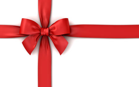 Red ribbon gift bow isolated on white background with shadow . 3D rendering. Stock Photo