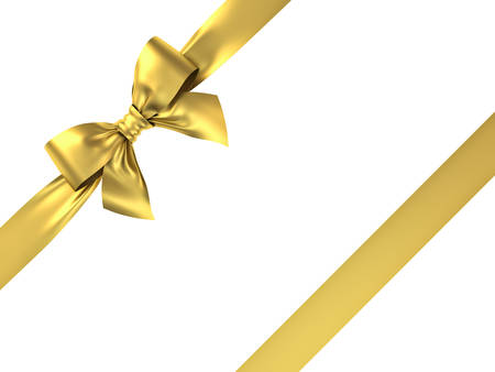 Gold gift ribbon bow isolated on white background . 3D rendering. Banque d'images