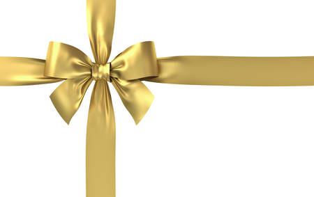 Golden gift ribbon bow isolated on white background . 3D rendering.