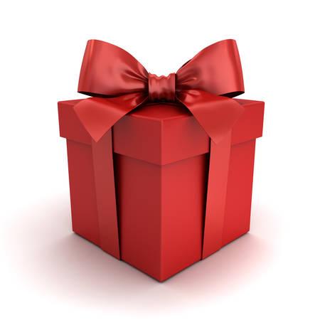 빨간색 선물 상자 또는 빨간색 리본 활 그림자 및 반사와 흰 배경에 고립 된 빨간색 선물 상자. 3D 렌더링입니다.