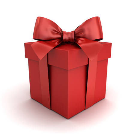 Red gift box or red present box with red ribbon bow isolated on white background with shadow and reflection . 3D rendering. Фото со стока