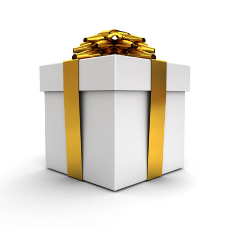 Gift box , Present box with gold ribbon bow isolated on white background with shadow . 3D rendering.