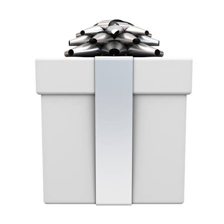 Gift box or present box with silver ribbon bow isolated on white background . 3D rendering.