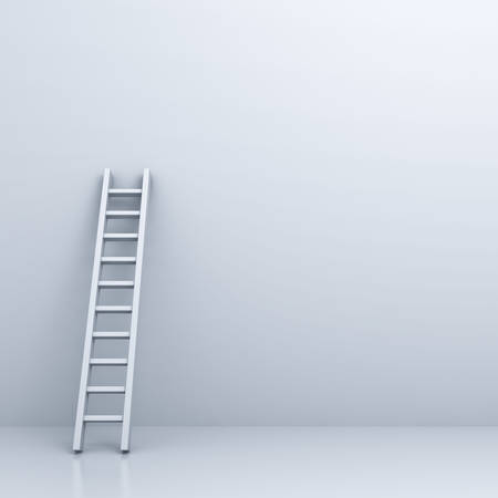 White ladder on white wall background with blank space . 3D rendering.