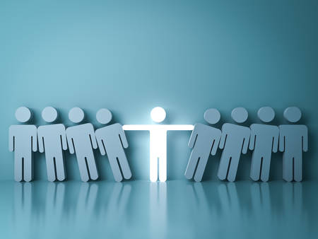 Stand out from the crowd and different creative idea concepts , One glowing light man standing with arms wide open among other people on dark green background with reflection and shadow. 3D rendering.