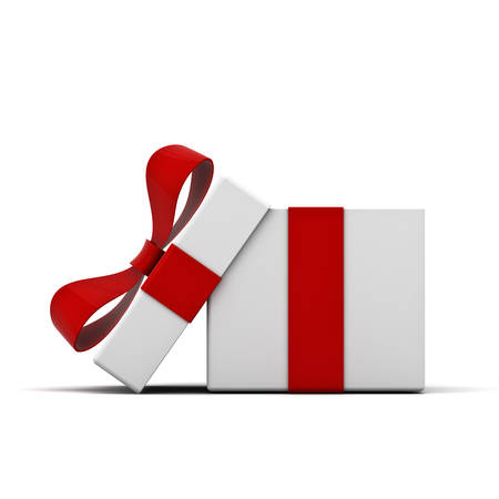 Open gift box and present box with red ribbon bow isolated on white background with shadow . 3D rendering. Stock Photo