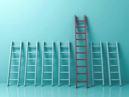 choosing: Stand out from the crowd and different creative idea concepts , Longest red ladder among other short white ladders on light green pastel color background . 3D rendering.