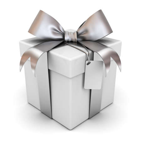 Gift box or present box with silver ribbon bow and blank tag isolated on white background with shadow . 3D rendering.