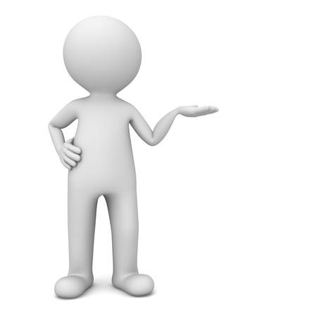 3d man presenter standing and showing your product on his hand with blank space isolated over white background with shadow . 3D rendering.