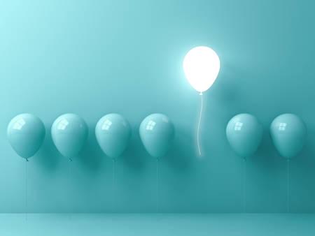Démarquez-vous de la foule et du concept différent, un ballon léger s'envolant d'autres ballons verts sur fond de mur de couleur pastel vert clair avec des reflets de fenêtre et des ombres. Rendu 3D