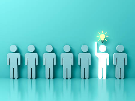 Stand out from the crowd and different concept , One glowing light man raising his hand with idea bulb among other people on light green pastel color background with reflections . 3D rendering. Banque d'images