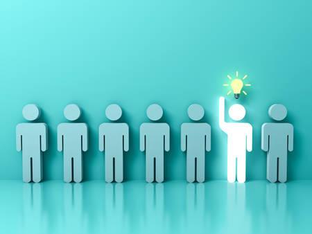 Heben Sie sich von der Menge und vom unterschiedlichen Konzept, ein glühender heller Mann hervor, der seine Hand mit Ideenbirne unter anderen Leuten auf hellgrünem Pastellfarbhintergrund mit Reflexionen anhebt. 3D-Rendering.