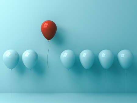Stand out from the crowd and different concept , One red balloon flying away from other cyan balloons on light cyan pastel color wall background with window reflections and shadows . 3D rendering. Banque d'images
