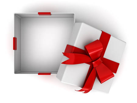 Open gift box or present box with red ribbon bow and blank space in the box isolated on white background with shadow . 3D rendering. Foto de archivo