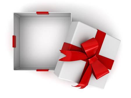 Open geschenkdoos of huidige doos met rood lint boog en lege ruimte in de doos geïsoleerd op een witte achtergrond met schaduw. 3D-rendering. Stockfoto