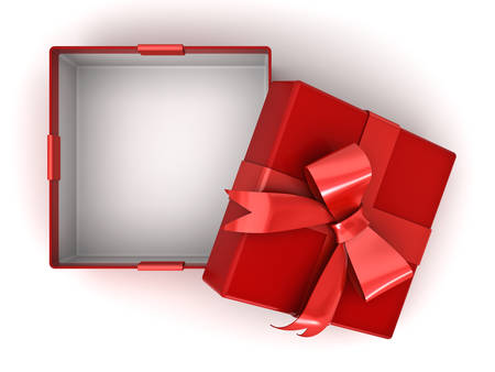 Open red gift box or present box with red ribbon bow and empty space in the box isolated on white background with shadow . 3D rendering. Foto de archivo