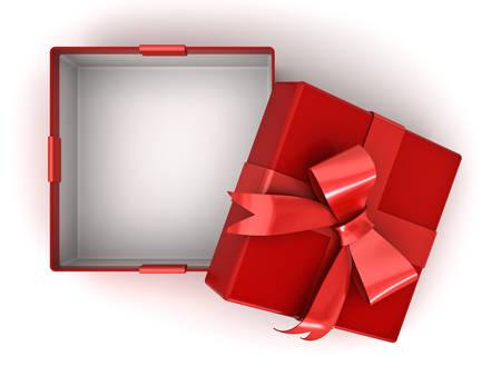 Open rode geschenkdoos of huidige doos met rood lint boog en lege ruimte in de doos geïsoleerd op een witte achtergrond met schaduw. 3D-rendering. Stockfoto - 87728071