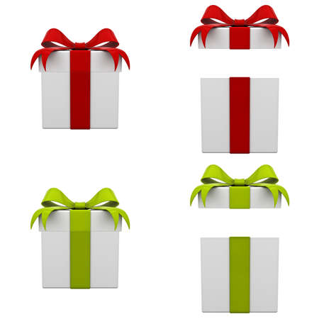 Collection of 3d gift boxes with red and green ribbon bows isolated on white background . 3D rendering.