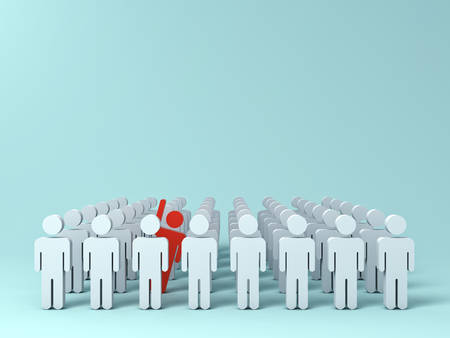 Stand out from the crowd and different creative idea concepts , One red man raising his hand among other white people on light green pastel color background with shadows . 3D rendering.