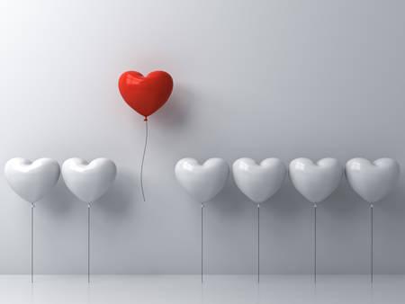 Démarquez-vous de la foule et un concept différent, un ballon coeur rouge battant loin des autres ballons coeur blanc sur fond de mur blanc avec des reflets de fenêtre et les ombres. Rendu 3D Banque d'images - 88094740
