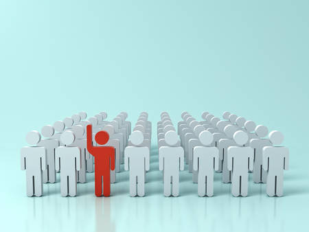 Stand out from the crowd and different creative idea concepts , One red man raising his hand among other white people on green pastel color background with shadows and reflections . 3D rendering.