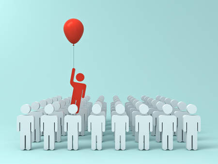 Stand out from the crowd and different creative idea concept , One man flying away from other people with red balloon on light green pastel color background with shadows . 3D rendering.