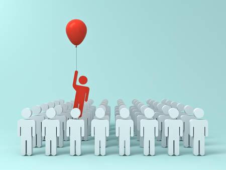 Onderscheiden van de menigte en het verschillende creatieve ideeconcept, één mens die vanaf andere mensen met rode ballon op lichtgroene pastelkleurachtergrond vliegen met schaduwen. 3D-rendering. Stockfoto - 88094743