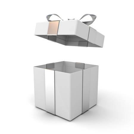 Coffret ouvert, boîte présente avec couvercle et noeud ruban argenté isolé sur fond blanc avec une ombre. Rendu 3D