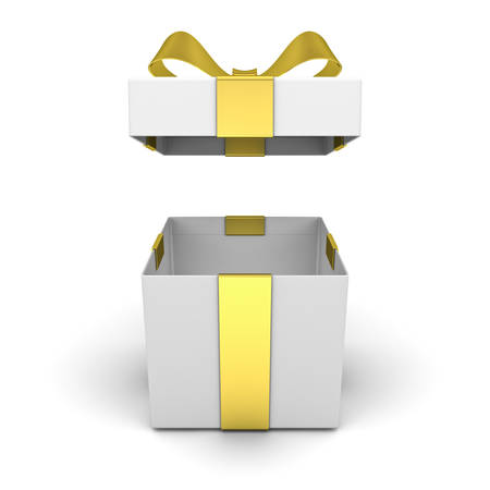 Open gift box , present box with lid and golden ribbon bow isolated on white background with shadow . 3D rendering.