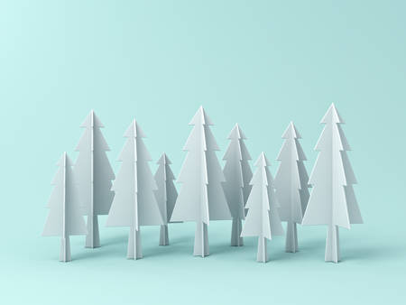 Sapin de Noël ou de pins sur fond de couleur pastel vert clair pour la décoration de Noël avec espace vide. Rendu 3D Banque d'images