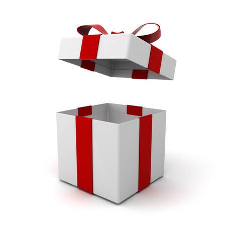 Coffret ouvert, boîte présente avec couvercle et noeud de ruban rouge isolé sur fond blanc avec ombre. Rendu 3D