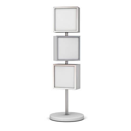 Un blanc avec support de panneaux de signalisation pôle, jusqu'à maquette en blanc, panneaux de signalisation ou de publicité boîtes carrées panneau d'affichage isolé sur fond blanc. rendu 3D.