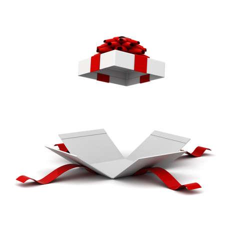 Giftdoos openen, huidige doos met rode lintboog die op witte achtergrond met schaduw wordt geïsoleerd. 3D-rendering.