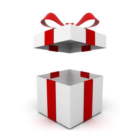 Ouvrez la boîte de cadeau, boîte actuelle avec noeud de ruban rouge isolé sur fond blanc avec une ombre. Rendu 3D
