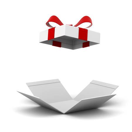Scatola regalo aperta, casella presente con fiocco di nastro rosso isolato su sfondo bianco con ombra. Rendering 3D.