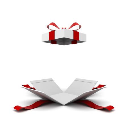 Apra il contenitore di regalo, scatola attuale con l'arco del nastro rosso isolato su fondo bianco con ombra. Rendering 3D Archivio Fotografico