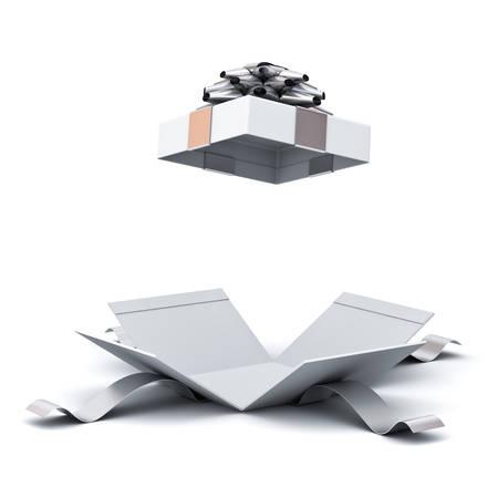 Coffret ouvert, boîte présente avec noeud ruban argent isolé sur fond blanc avec une ombre. Rendu 3D