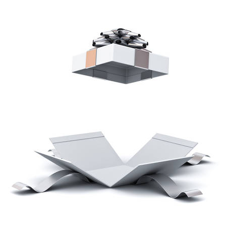 Open gift box , present box with silver ribbon bow isolated on white background with shadow . 3D rendering. Stock Photo