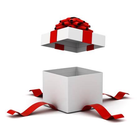 Open geschenkdoos, huidige vak met red ribbon bow geïsoleerd op een witte achtergrond met schaduw. 3D-rendering. Stockfoto