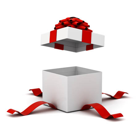 reveal: Open gift box , present box with red ribbon bow isolated on white background with shadow . 3D rendering.