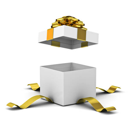 Open gift box , present box with golden ribbon bow isolated on white background with shadow . 3D rendering.
